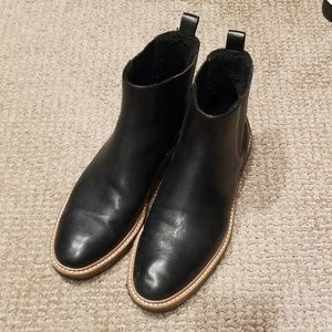 Botkier Chelsea faux sherling lined black boots